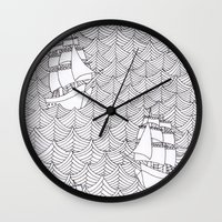 ships Wall Clocks featuring Ships by hellotomato