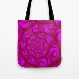Fractal Web Red on Pink Tote Bag