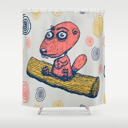cute little beaver sitting on a log contemplating life Shower Curtain