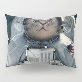cat astronaut and space dust in the universe Pillow Sham