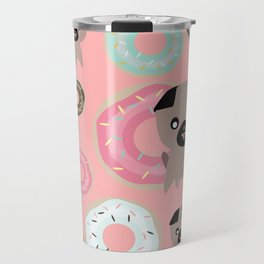 Pug and donuts pink Travel Mug