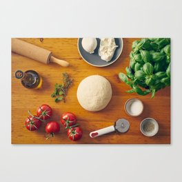 Ingredients for making pizza Canvas Print