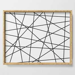 Geometric Lines (black/white) Serving Tray