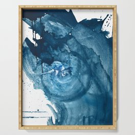 4 am Thoughts [3]: a minimal abstract painting in blue by Alyssa Hamilton Art Serving Tray