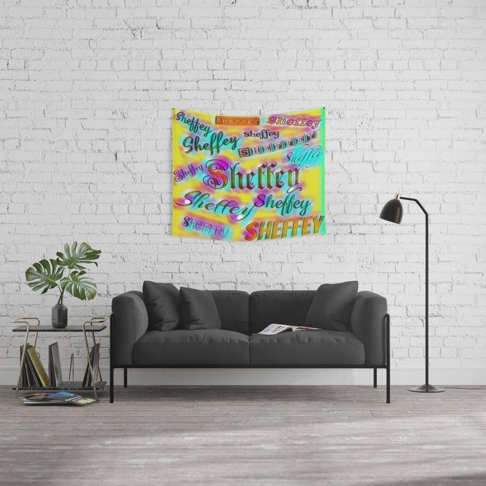 Sheffey Fonts - Yellow and Pink Rainbow 9642 Wall Tapestry