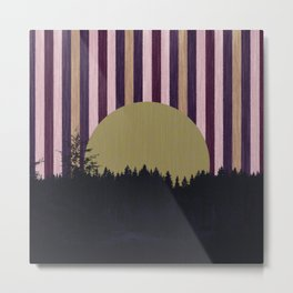 Forest and striped sky Metal Print