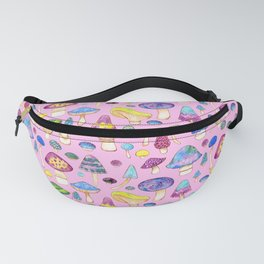 Watercolor Mushroom Pattern on Pink Fanny Pack