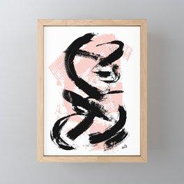 Black Brush strokes Framed Mini Art Print