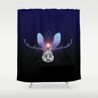 jackalope Shower Curtains featuring Cosmic Jackalope by Stephanie Peyton