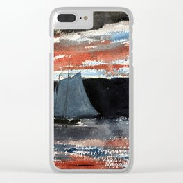 Schooner at Sunset Clear iPhone Case