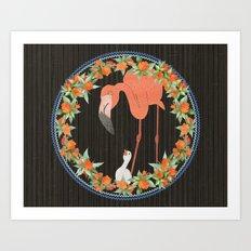 Flamingo wreath Art Print