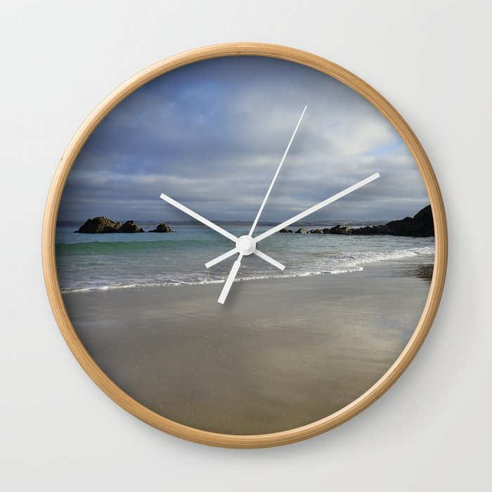 Winter Ocean Waves and Sky Cornwall Wall Clock