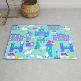Rainbow Unicorn Kingdom Castle Pattern Rug