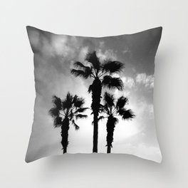 Black and white palms Throw Pillow