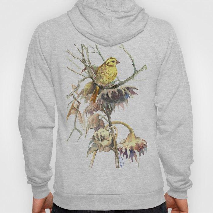 Yellowhammer and Sunflower, bird design, light brown yellow room art Hoody