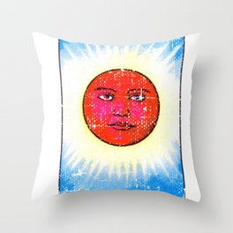 El Sol Mexican Loteria Bingo Card Throw Pillow