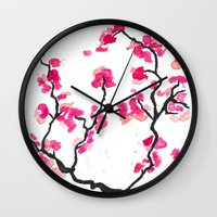 cherry blossoms Wall Clocks featuring Cherry Blossoms by Amaya
