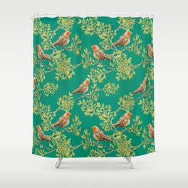 Red Robin & Emerald Green Pattern Shower Curtain