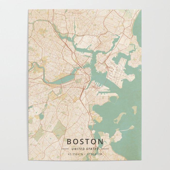 Boston, United States - Vintage Map Poster