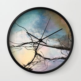 Heaven and Hell Abstract Painting by Jodi Tomer Cloudy Painting Sticks Wall Clock