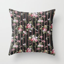 Elegant faux rose gold black stripes vintage blush pink lavender floral Throw Pillow