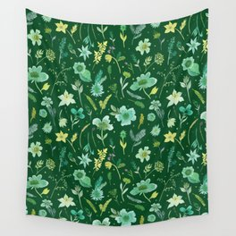 Verdant Flowers on Dark Green Background Wall Tapestry