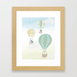 Up & Away, a Hot Air Balloon Adventure on a Blustery Day Framed Art Print
