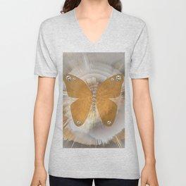 Golden Butterfly with Diamonds Unisex V-Neck