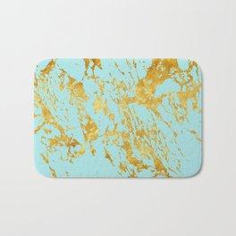 Luxury and glamorous gold glitter on aqua Sea marble Bath Mat