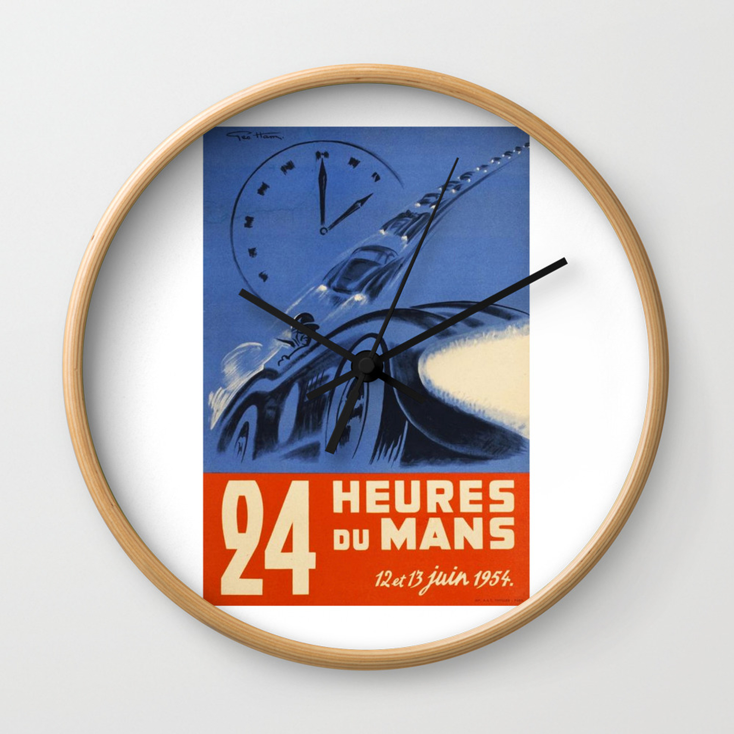 1954 Le Mans Poster Race Poster Car Poster Wall Clock By Alma Design Society6