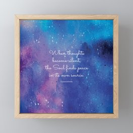 When thoughts become silent, the Soul finds peace in its own source. Upanishads Framed Mini Art Print