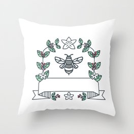 Bumblebee Coffee Leaves Cherries Flower Mono Line Throw Pillow