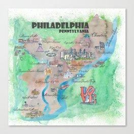Philadelphia Pennsylvania Fine Art Print Retro Vintage Map with Touristic Highlights Canvas Print