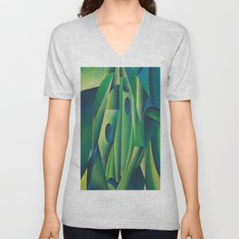 Cubist Abstract Of Village Woman Wearing A Headscarf Unisex V-Neck