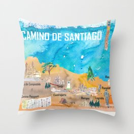 Camino Santiago St Jacques James Travel Poster Favorite Map Pilgrimage Highlights Throw Pillow