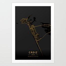 Cadiz, Spain - Gold Art Print