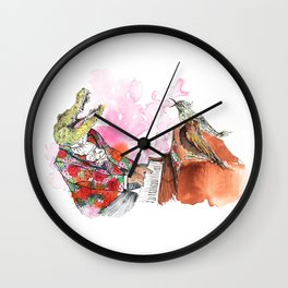 Piano Playing Alligator in a Floral Blazer, with Backup Singing Birds Wall Clock