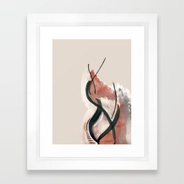 Storm: a minimal abstract mixed media piece in red white and blue Framed Art Print
