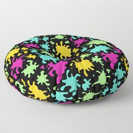 Colorful Paint Splatter Pattern Floor Pillow