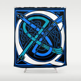 Celtic Peacocks Letter Q Shower Curtain