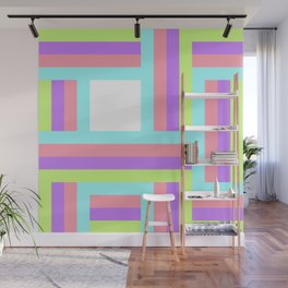 Colorful lines square pattern Wall Mural