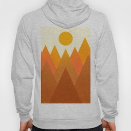 Modern Warming Abstract Geometric Mountains Landscape with Rising Sun in Hot Autumnal Ochre Colors Hoody