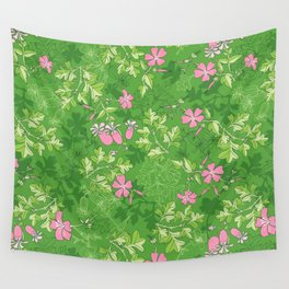 Forest Wildflowers / Green Background Wall Tapestry