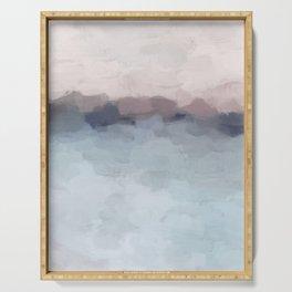 Blush Pink, Mauve Purple, Navy Light Blue, Abstract Painting, Modern Wall Art, Ocean Waves Horizon Serving Tray