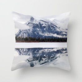 Mount Rundle reflection in Vermillion Lakes, Alberta Throw Pillow