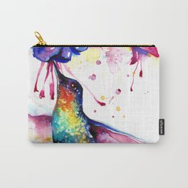 Rainbow Hummingbird in Flowers with Nectar Carry-All Pouch