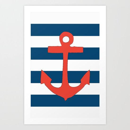 Red Nautical Stripe Art Print