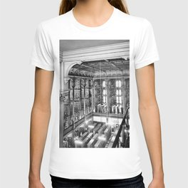 A Book Lover's Dream - Cast-iron Book Alcoves Cincinnati Library black and white photography T-shirt
