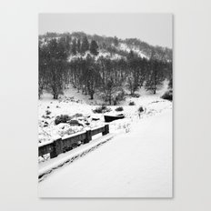 Snowing Forest And A Fishing Boat Canvas Print