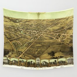 Aerial View of Pontiac, Oakland County, Michigan (1867) Wall Tapestry